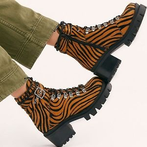 Free People Printed Check Lace Up Boot